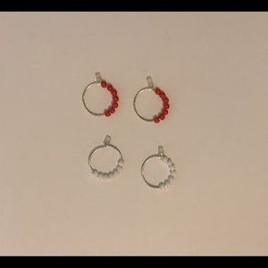 2 Pairs of Earrings with Beads—1 White Pair, 1 Red